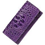 PIJUSHI Women Leather Wallet Embossed Crocodile Clutch Wallet Card Holder Organizer 8013 (One Size, Purple)
