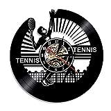 HIDFQY Tennis Horloge Murale Joueur De Tennis Silhouette Disque Vinyle Horloge Murale Vintage Thème Sportif Raquette Décoration de La Maison Amant De Tennis Idées Cadeaux Aucune LED