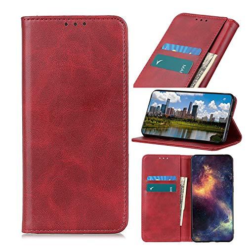 TOPOFU Handyhülle für Sony Xperia 10 III Hülle,Premium PU/TPU Lederhülle Klapphülle mit Magnetisch,Kartenschlitz,Rindsleder Textur Handytasche Schutzhülle Flip Cover Hülle-Rot