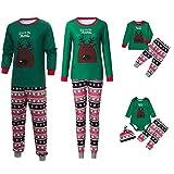 cinnamou Pijama De Navidad Conjunto De Pijama Familiar Pajamas Estampado De Ciervo De Dibujos Animados Top Verde + Pantalones A Rayas Bebé Mameluco Cuello Redondo + Pantalon + Gorro Ropa De Noche