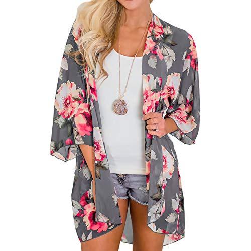 ECOMBOS Damen Florale Kimono Cardigan - Strand Chiffon Kimono Cardigan Sommer Bluse Tops Beachwear Bikini Cover up Leichte Boho Strand Jackete Boho Strand Jacke (Hell-grau, XL)