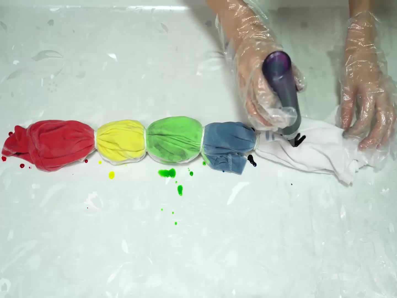 Essort Tie-Dye Kit Tinte para Ropa 5 Colores Juego de Teñido Anudado para Niño, Tela Pinturas, Actividades del Campus, Enviar Guantes y Gomas