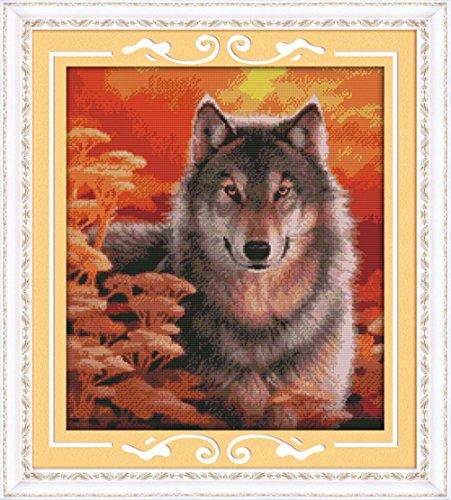 yeesam Tipo Punto de Cruz Stick Paquete–Otoño Wolf 14CT 44× 49cm DIY Bordado Set Color Blanco Lona–Cruz Costura Mano Navidad Regalos Cross Stitch Kit