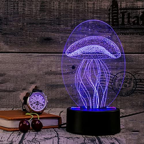 CWW 3D Ilusión Optica Lámpara de Medusa Interruptor táctil y Momento Control Remoto para habitación de niños decoración del hogar Regalos de cumpleaños Alimentado por USB