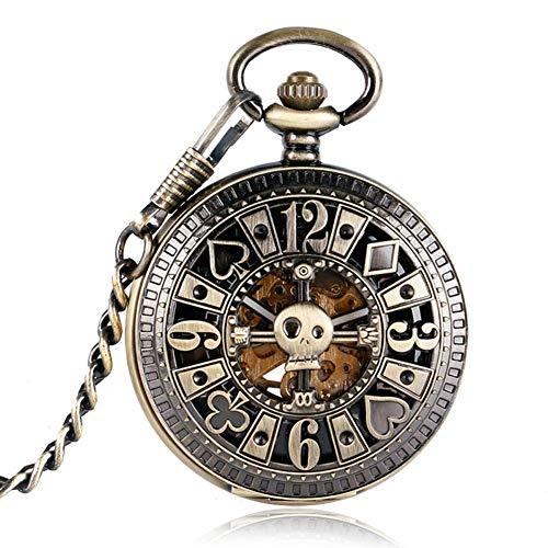 WYZQ Automatische mechanische Poker Anhänger Schädel Bronze Taschenuhren für Männer, Uhren Anhänger mit Kette