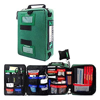 255PCs Compact First Aid Kit Emergency Survival Trauma Kit Medical Kit with Labeled Compartments for Boat Car Camping Hiking Travel & Backpacking by BearHoHo