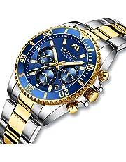 [メガリス]MEGALITH 腕時計メンズ クロノグラフ防水時計 多針アナログクオーツウオッチステンレススチール 日付表示 夜光金属 ラグジュアリー おしゃれ ビジネス カジュアル メタル男性腕時計
