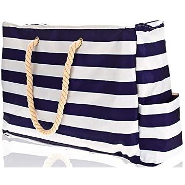 Beach Bag XL (Huge). L22 xH15 xW6 w 100% Waterproof Phone Case, Cotton Rope Handles, Top Zipper, Extra Outside Pocket. Dark Blue Shoulder Beach Tote has Built-in Keyholder, Bottle Opener