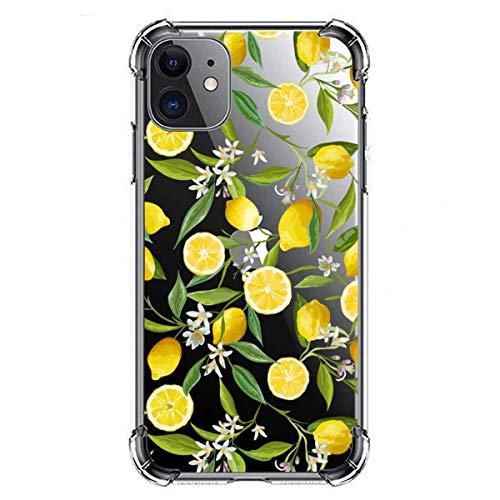 Caja de cristal transparente con patrón de fruta de limón, para iPhone11 flexible suave gel silicona TPU flor cubierta para proporcionar una cubierta protectora a prueba de golpes para niñas y mujeres