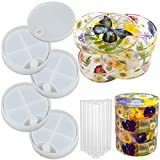 FUNSHOWCASE Rotatable Storage Box Epoxy Resin Silicone Molds Set 4-Layer Organizer with Lid and Bearings,...
