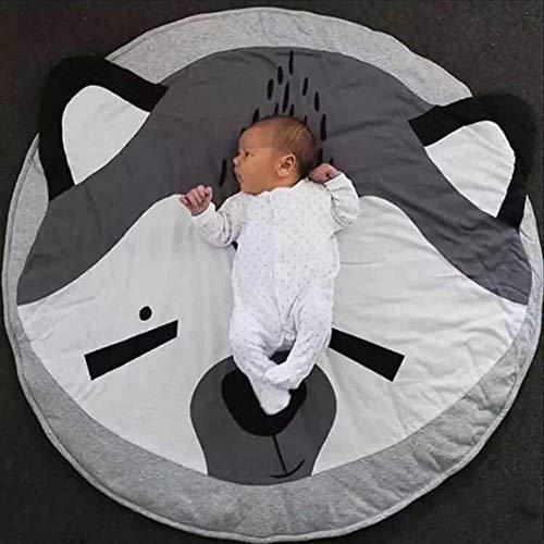 Homieco Cartone animato carino Tappeto rotondo Il bambino ama Gioca al tappetino Sfondo di fotografia di bambino Asilo nido Decorazione della stanza,Volpe