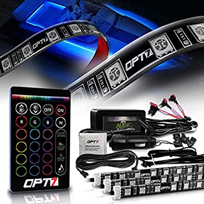 OPT7 Aura LED Boat Light, 24 inches RGB Soundsync Interior Lighting Strip , 16+ Colors Flexible Waterproof 12v with Wireless Remote Control for Pontoon Sailboat, 4pc