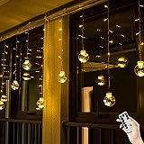 BLOOMWIN USB Lichtervorhang 3x0,65M 120LEDs Kugel Lichterkettenvorhang Warmweiß Weihnachtsbeleuchtung Stimmungslichter innen für Fenster Weihnachten Party Feiertage Fensterdeko Dekobeleuchtungkette