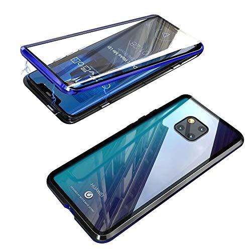 Jonwelsy Cover per Huawei Mate 20 PRO (6,39 Pollice), 360 Gradi Anteriore e Posteriore Vetro Temperato Trasparente Custodia, Tecnologia di Adsorbimento Magnetico Bumper Metallo (Blu/Nero)
