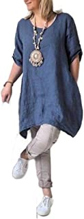 neveraway Womens Baggy Asymmetric Hem Fall Winter Cotton Linen Dress Top