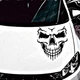 Car Stickers and Decals, Transer Reflective Skull Decal Window Sticker for Auto Cars, Trucks, Windows, Walls, Laptops, and other stuff. (Black, Large)