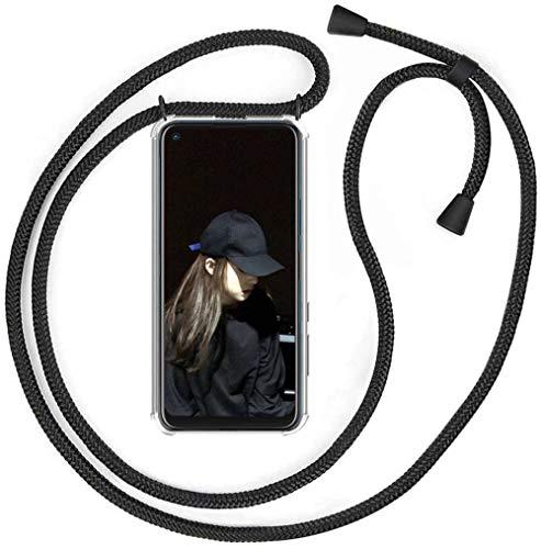 ZHXMALL Funda con Cuerda para Xiaomi Redmi 9T,Ajustable Collar Correa,Case y Cordón,Suave Transparente Antiamarillejo TPU Silicona Carcasa [Anti-rasguños] [Anti-Choque] - Negro Mate