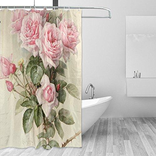 jstel Vintage Rose Polyester-Duschvorhang Schimmel resistent & wasserfest-182,9x 182,9cm für Home Extra Lang Badezimmer Deko Dusche Bad Vorhänge Liner mit 12Haken