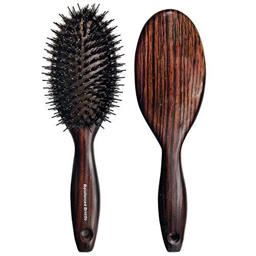 Brosse à cheveux en poils de sanglier avec épingles en nylon pour cheveux épais bouclés longs et humides – Brosse ovale anti-statique – pagaie en bois