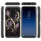 Galaxy S9 Plus Case,Durable Anti Sliding 2 in 1 Hybrid Case Back Cover Hard PC with Personality Pattern & Point Drill Inner Soft TPU Bumper Case Compatible with Samsung Galaxy S9 Plus -Purple