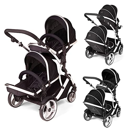 Kids Kargo Duelette Hybrid Twin/Toddler Double Pushchair Tandem Stroller buggy 2 seat units, compatible with Kids Kargo Car seat (sold separately) 2 Free Black footmuffs 2 Free rain covers Black/Silver chassis