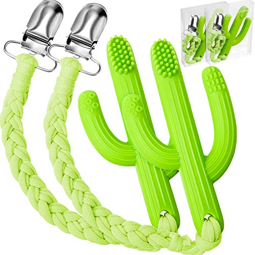2 Mordedores de Cactus Bebé Cepillos de Dientes de Entrenamiento Infantil Suave con 2 Cadenas de Chupete para Bebé de 0-24 Meses, Silicona de Grado Alimenticio, Verde
