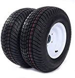 20.5/8.00-10 5Lug TL LRC Trailer Tires 205/65-10 6PR P825 White Wheels Tire Mounted 5x4.5 Bolt Circle with Rims Set of 2 Tubeless