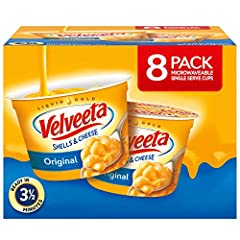 One box of eight 2.39 oz. Velveeta Original Shells & Cheese Cups Ready in a mere 3 ½ minutes Convenient to pack for lunch at school, the office or as an on-the-go snack This macaroni and cheese requires only a microwave to prepare Made with our speci...