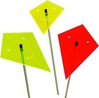SunCatcher Set of 3: Kite | 170mm / 6,69'' Ø fluorescent garden ornament | GLOWING GARDEN DECORATION on stick | innovative Home Decor for outdoor garden balcony pathway, Colour:red / yellow / green