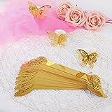 MaoXinTek Serviettenring Schmetterling Papier Serviettenschnalle für Hochzeit Taufe Kommunion Graduierung Geburtstag Weihnachten Bankett 50Pcs Gold - 2