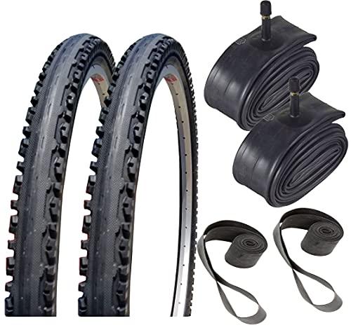 Bike Tires & Tubes - 26' x 1.95' Kross Plus Bicycle Tire, Tube and Rim Strip Bundle