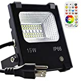 Yangcsl LED Flood Light Outdoor 100W Equivalent, Color Changing Floodlight with Remote, 120
