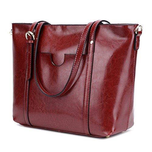 CLELO Women's Tote Bag, Genuine Leather Purse Handbag Shoulder Bag (Wine)