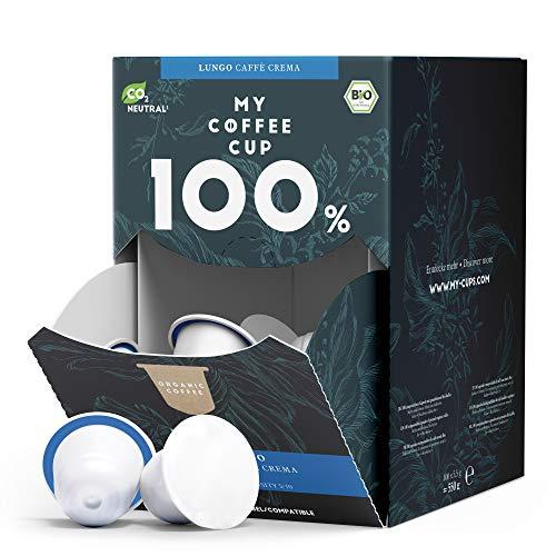 My Coffee Cup – MEGA BOX LUNGO CAFFÈ CREMA – BIO-KAFFEE I 100 Kaffeekapseln für Nespresso®³-Kapselmaschinen I 100{bb7aa96f1d58861f0ea5b40890bfa2b581aa1fb0bd9f16fd4686452749e492ee} industriell kompostierbare Kaffeekapseln – 0{bb7aa96f1d58861f0ea5b40890bfa2b581aa1fb0bd9f16fd4686452749e492ee} Alu I Nachhaltige Kaffeekapseln
