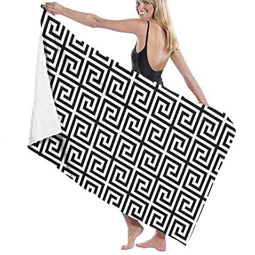 asdew987 Toallas de playa para mujeres y hombres, color negro, con patrón Fylfot, toallas de baño de secado rápido, multiusos, manta de piscina, grande, 86 x 158 cm