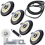 ALEW Direct Upgraded Dryer Repair Kit Compatible with LG Kenmore Dryers Includes 4581EL2002C Dryer Drum Roller Assembly, 4400EL2001A Dryer Belt and 4561EL3002A Dryer Motor Idler Pulley with Spring