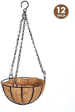 Pot de Fleurs Suspendu Panier Plantes Coco Suspension Plante Exterieur Fer avec Chaîne, pour Décoration Murale ou à Suspendre