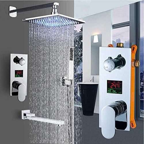 YLJYJ Wandmontage Badezimmer Regen Wasserfall Duscharmatur Set Verdeckte Chrome Duschsystem Badewanne-Dusche-Mischer-Hahn-Hahn