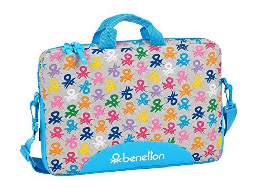 safta 612052461 Funda para portátil o Tablet 15,6' con asa Bandolera Benetton, Multicolor