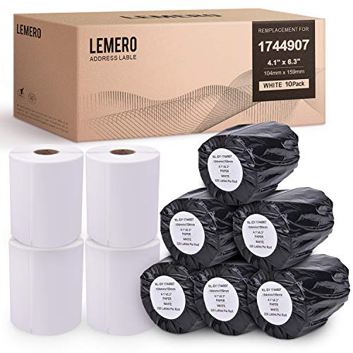 LEMERO 10 Rolls Compatible with DYMO 1744907 Extra-Large Shipping Labels - White Thermal Postage Labels 4 inch x 6 inch Strong Permanent Adhesive for DYMO LabelWriter 4XL (220 Labels/Roll)