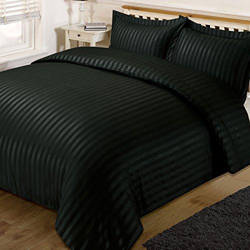 Dreamscene Satén Rayas, funda de edredón juego de cama con 2fundas de almohada, negro, King