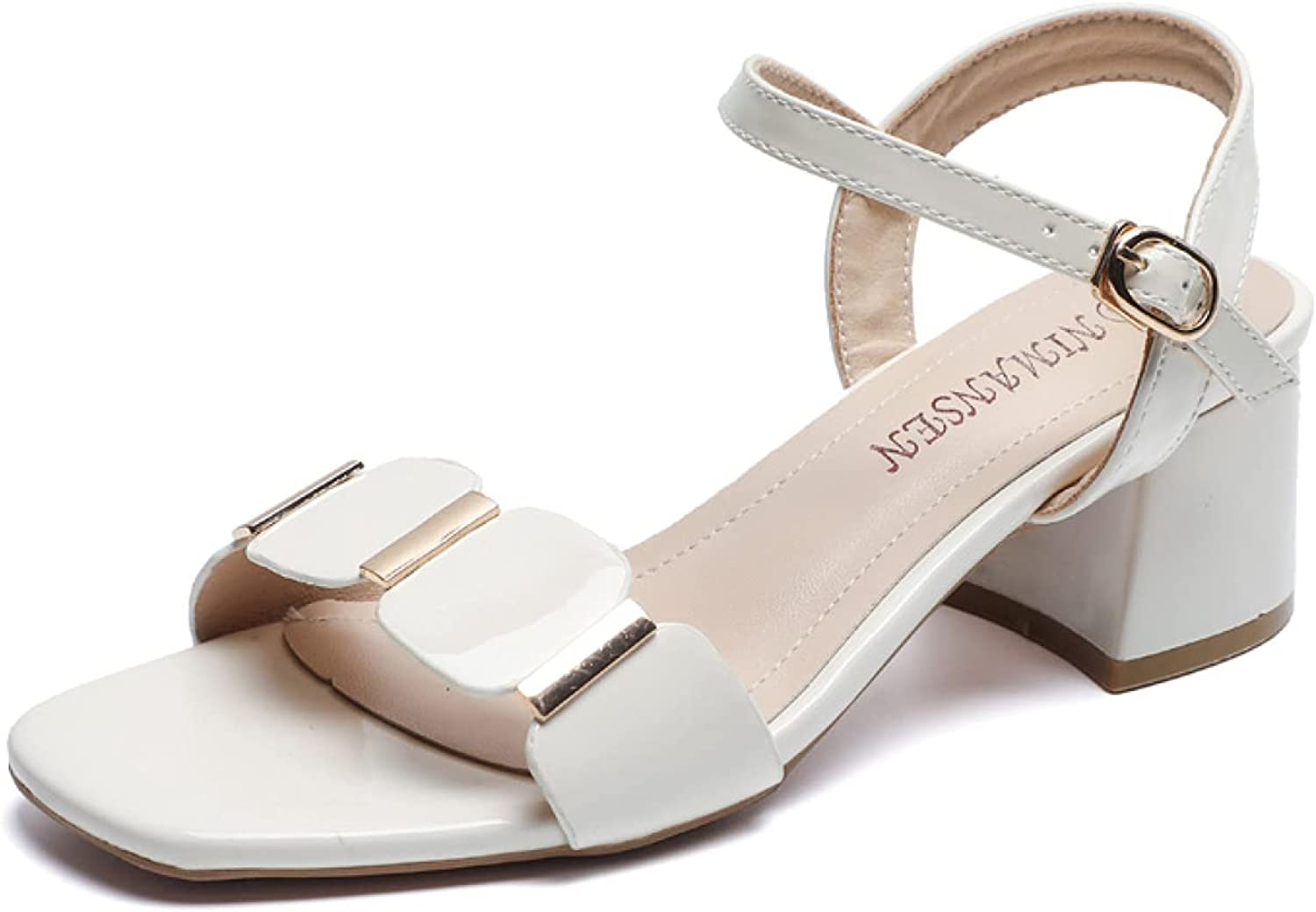 Woman List price Casual Chunky Max 72% OFF Heels Sandal Ankle Su Open Straps Buckle Toe