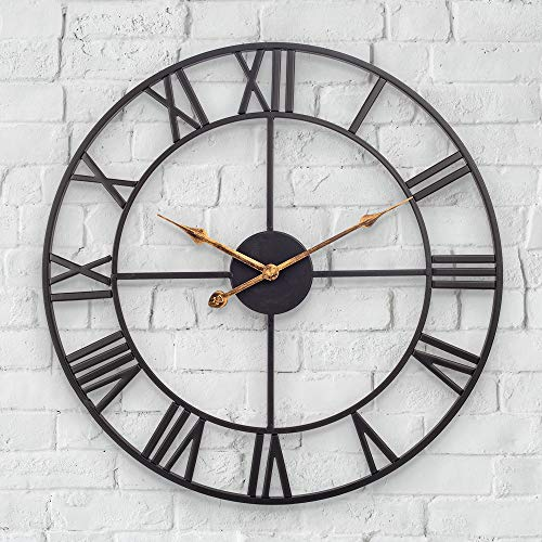 Mofine Large Outdoor Clock, Vintage Antique European Industrial Decorative Metal Roman Outdoor Clock, Silent Battery Operated Skeleton Iron Wall Clock Garden/Patio/Pool/Fence-20 Inch, Golden Hand