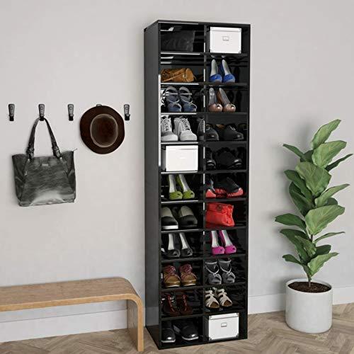 Festnight Estante para Zapatos Gabinete para Zapatos De Madera Almacenamiento Multifuncional Estante para Zapatos Casilleros Que Ahorran Espacio,Negro Brillante 54x34x183 cm