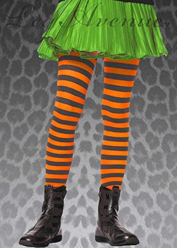 Magic Box Childrens Noir et Collants à Rayures Orange XL (11-13 Years)