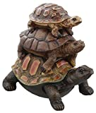 Rainbow Wholesale Inc. Colorful Box Turtles Riding Piggyback Garden Decoration Collectible Tortoise Terrapin Figurine Statue
