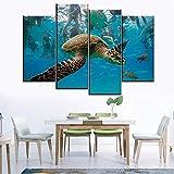 Cuadro En Lienzo 4 Piezas Impresiones sobre Lienzo Acuario de tortugas animales fondos marinos ImpresióN HD Pintura 4 Piezas Modernos Salón Decoracion Murales Pared Lona XXL Hogar Dormitorios Decor