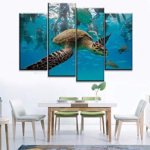 ANTAIBM® 4 Wandkunst-Malplakat Holzrahmen - verschiedene Größen - verschiedene StileLeinwand HD-Druck Modulares Bild 4 Stück Tierschildkröte Gemälde für moderne Aquarien Wandkunst dekorative Poster