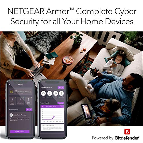 NETGEAR - R7000P-100NAS Nighthawk WiFi Router (R7000P) - AC2300 Wireless Speed (up to 2300 Mbps) | Up to 2000 sq ft Coverage & 35 Devices | 4 x 1G Ethernet and 2 USB ports | Armor Cybersecurity, Black