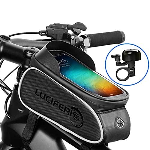 LUCIFERIA Bolsa de Bicicleta Impermeable,Funda de Móvil Bicicleta,Bolsa con Soporte Móvil Pantalla Táctil de Tubo Superior Delantero con Salida para Auriculares para Móviles de Menos de 6,5 Pu
